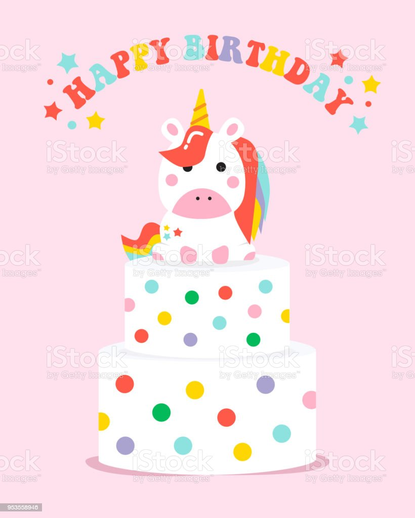 Happy Birthday Unicorn Birthday Cake Card Vector Illustration Stock