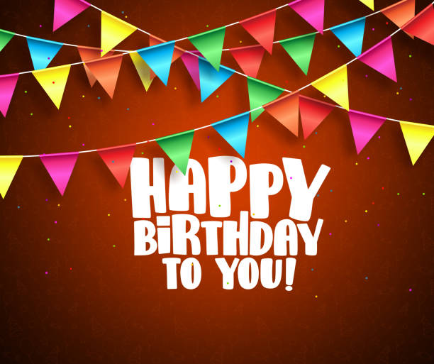 Happy birthday vector banner design. Birthday text and colorful streamers Happy birthday vector banner design. Birthday text and colorful streamers hanging in red background with patterns. Vector illustration. party conference stock illustrations