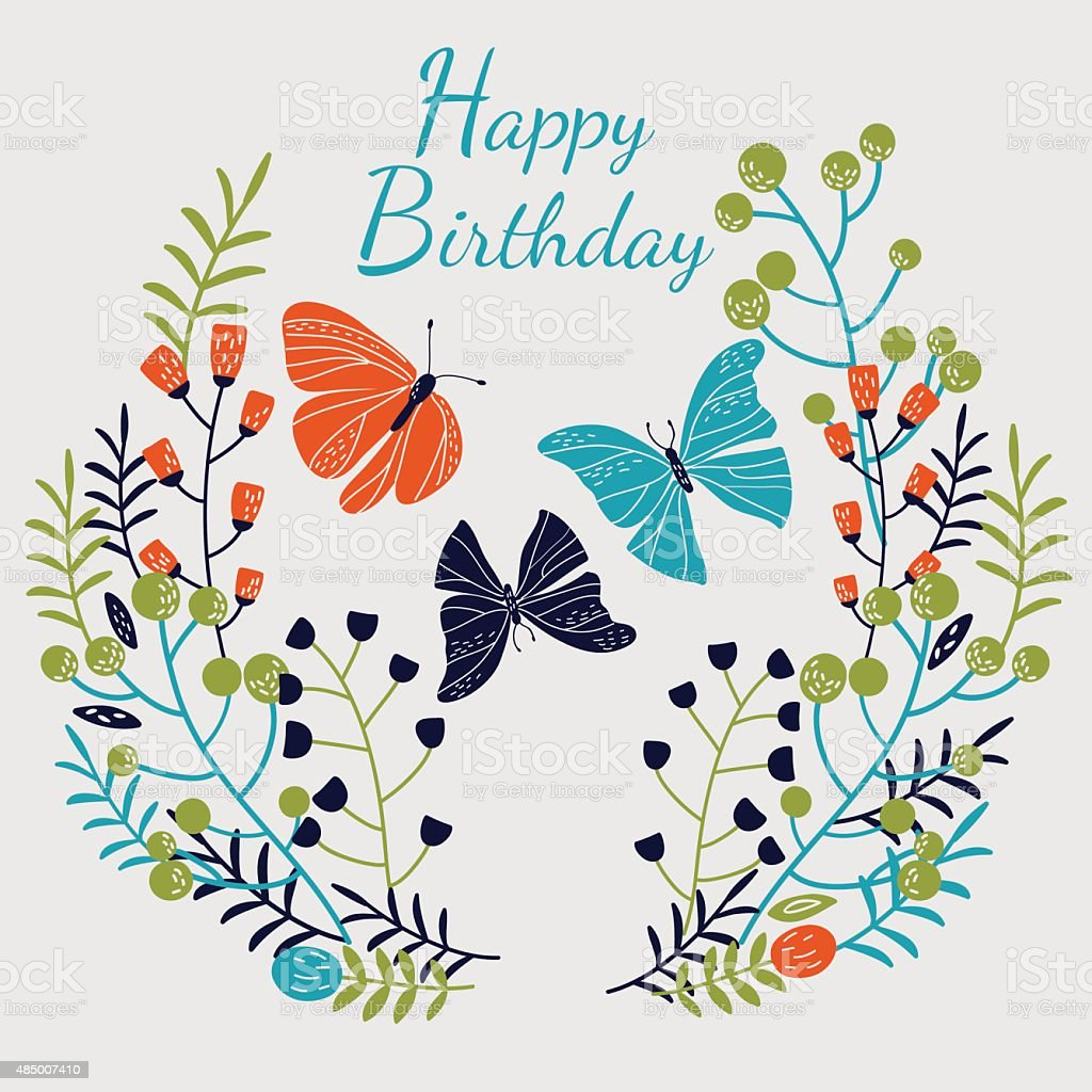 Happy Birthday Vector Card With Butterflies And Roses