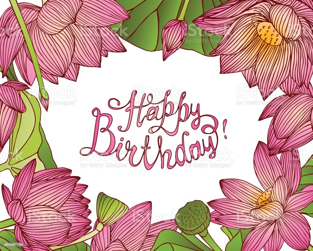 Happy birthday vector card with lotus flowers stock vector art happy birthday vector card with lotus flowers royalty free happy birthday vector card with izmirmasajfo Image collections