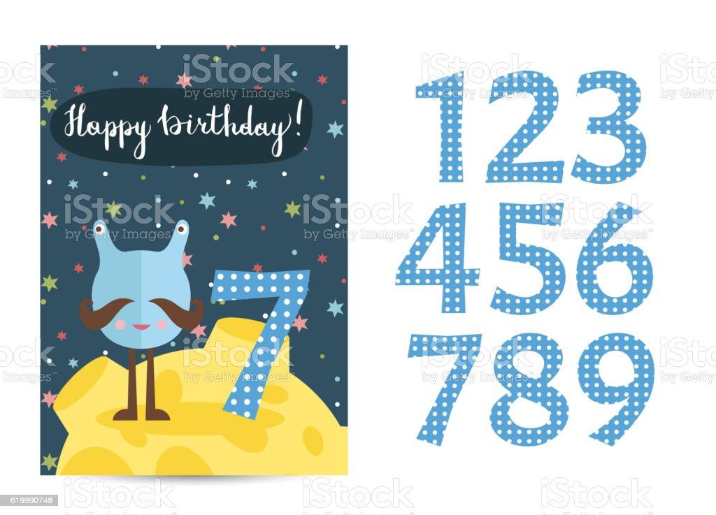 Happy Birthday Vector Cartoon Greeting Card Stock Vecteur Libres De