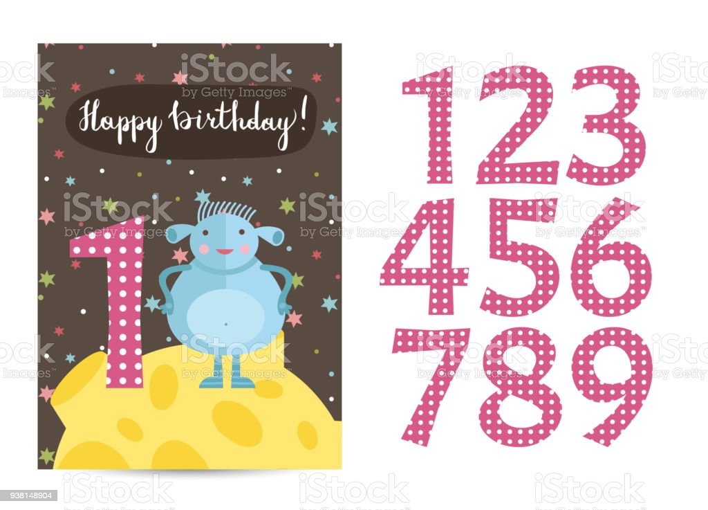 Happy Birthday Vector Cartoon Greeting Card Stock Vector Art More