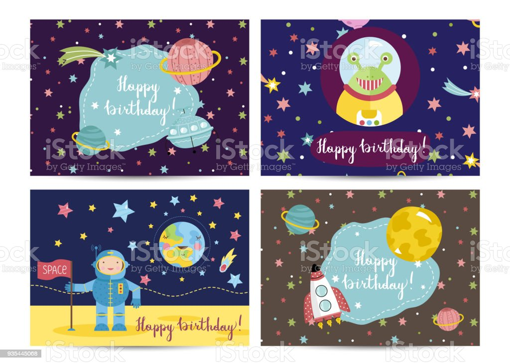Happy Birthday Vector Cartoon Greeting Cards Set Stock Vector Art
