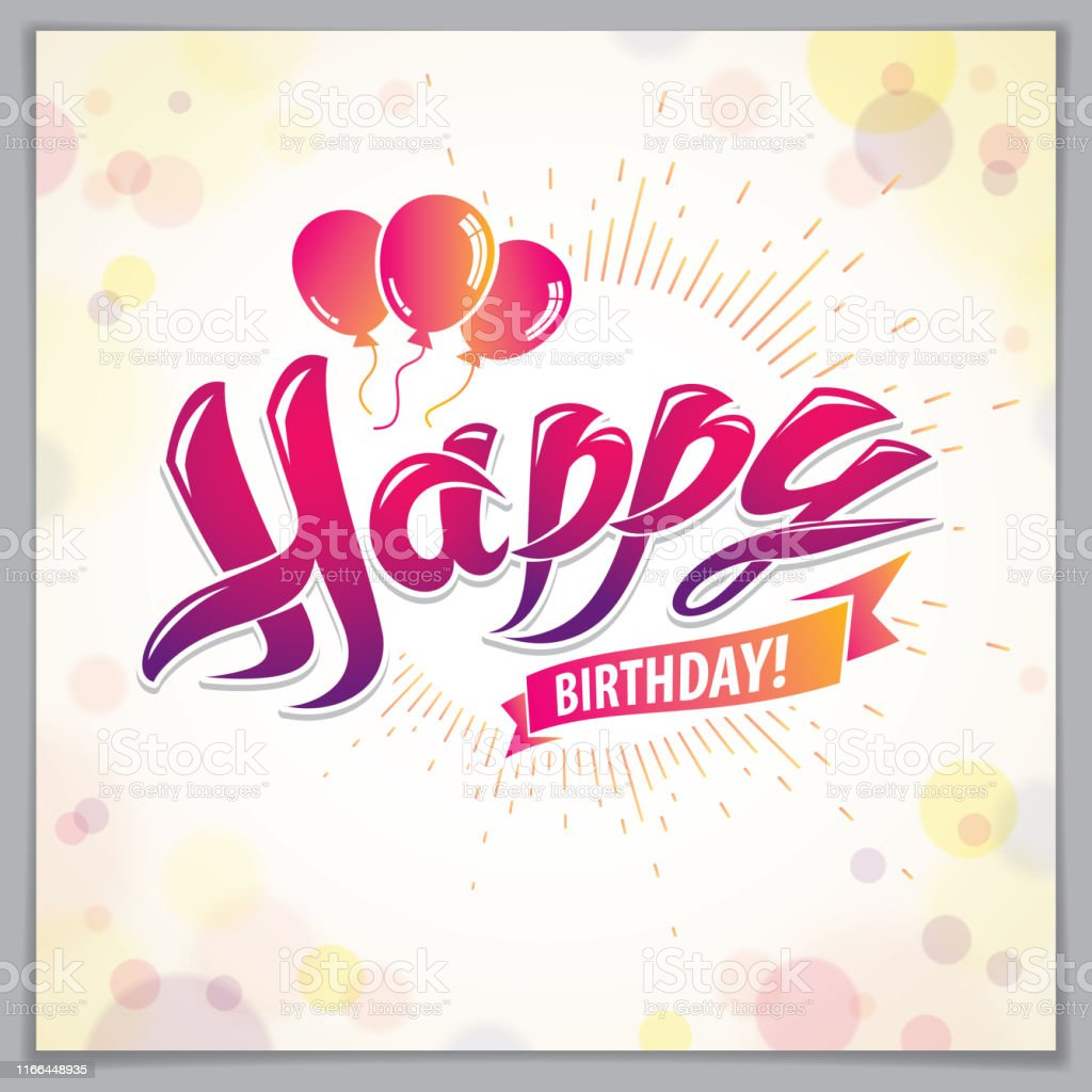 Happy Birthday Vector Design For Greeting Card Includes