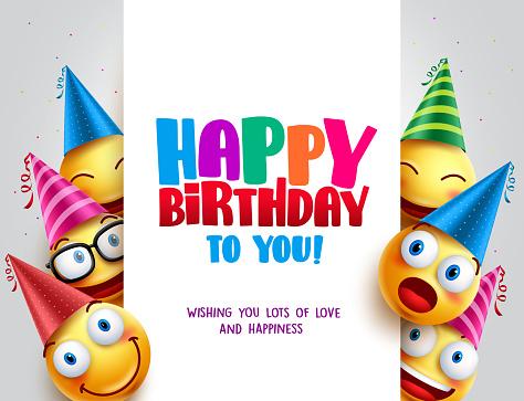 Happy birthday vector design with smileys wearing birthday hat