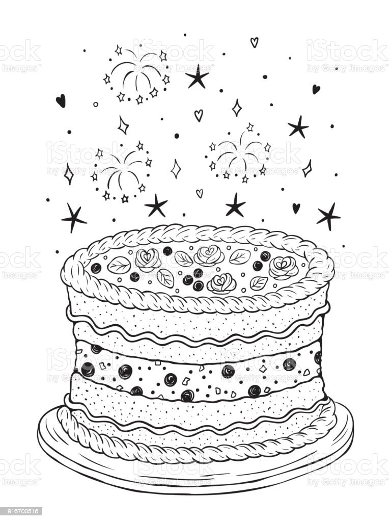 Happy Birthday Vector Fireworks And Birthday Cake Or Wedding Cake