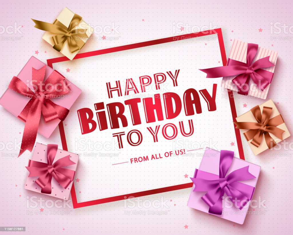 Happy Birthday Vector Greeting Card Design Birthday Gift Boxes And Happy Birthday Text Stock Illustration Download Image Now Istock