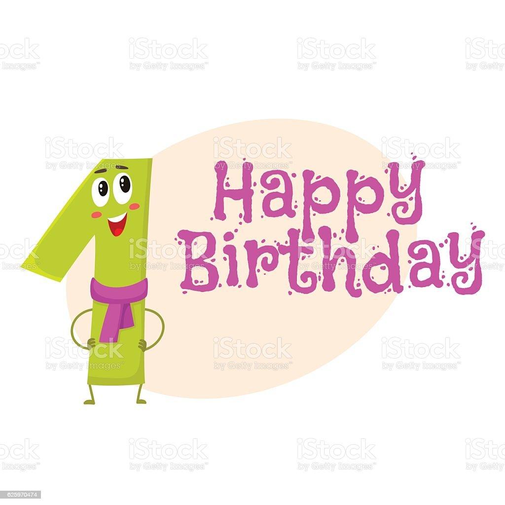 Happy birthday vector greeting card design with one number happy birthday vector greeting card design with one number characters royalty free happy birthday vector kristyandbryce Gallery