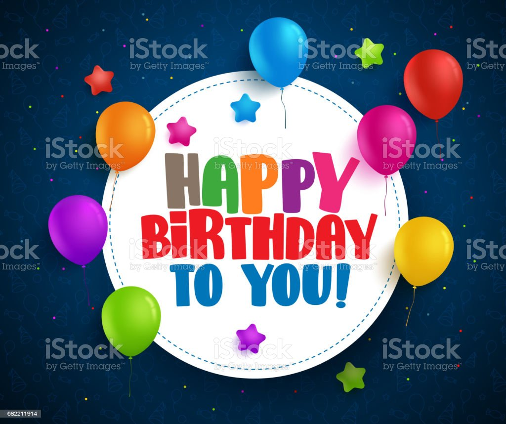 Happy birthday vector greetings with text in white circle space