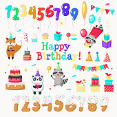 Happy birthday icon set. Vector hand drawn cute animals fox raccoon panda, numerals, birthday cake, sweets, gift boxes, balloons, party hats and string flags. Invitation greeting card design elements.