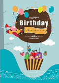 A vector illustration to show announcement happy birthday in a hot air balloon background   - Eps 10 Format - Opacity and transparency effect