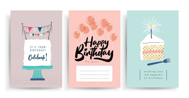 Happy Birthday Set of birthday greeting cards design cake designs stock illustrations