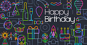 Birthday Greeting Icons in a geometric flat style