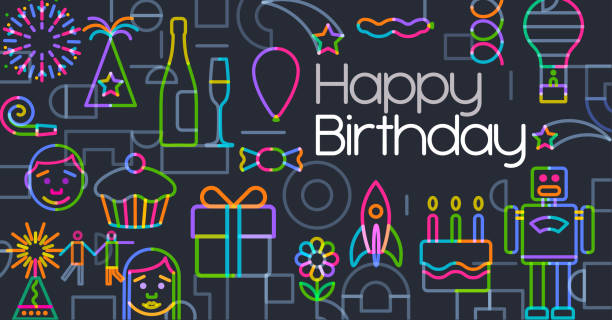 Happy Birthday Birthday Greeting Icons in a geometric flat style happy birthday stock illustrations