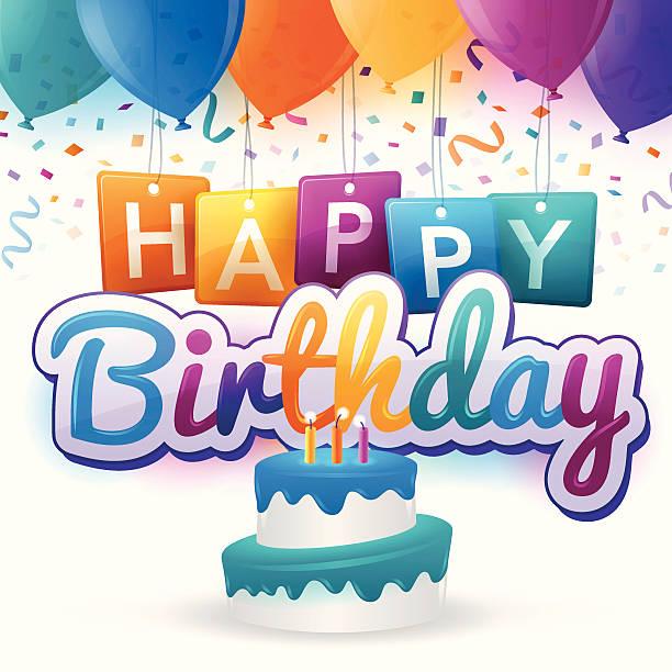 Happy Birthday Happy Birthday concept.  cake clipart stock illustrations