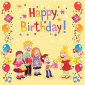 Kids giving gifts birthday card