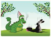 A little dragon and his good friend rabbit celebrating the dragon's birthday.