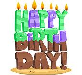 Happy birthday vector illustration cartoon sign.