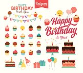 Set of vector birthday party elements - Designer collection