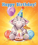 "A cute little elephant with a party hat, a balloon and a birthday cake. Funny Birthday card with text: ""Happy Birthday!"" EPS 10, everything grouped and labeled in layers."