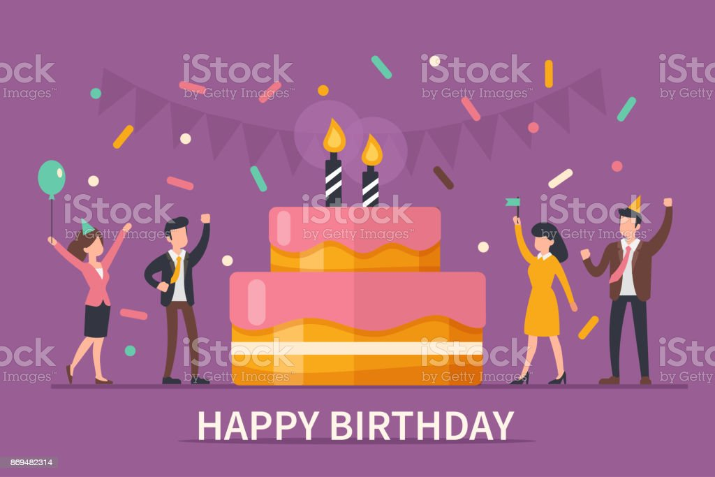 happy birthday vector art illustration