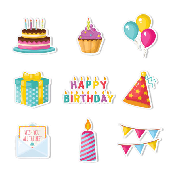 happy birthday - happy birthday cake stock illustrations, clip art, cartoons, & icons