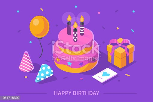 Happy birthday concept. Flat isometric vector illustration isolated on white background.