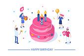 Happy birthday concept with characters. Can use for web banner, infographics, hero images. Flat isometric vector illustration isolated on white background.