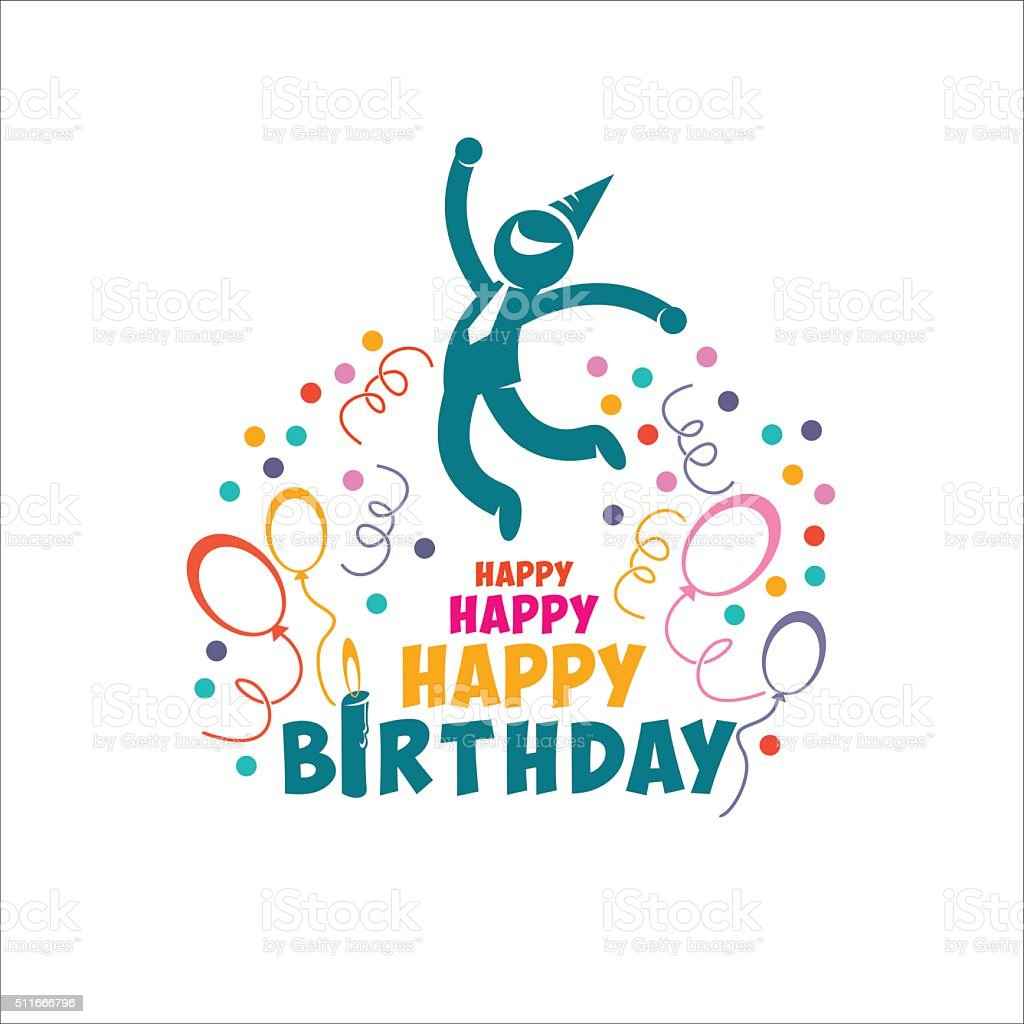 Happy Birthday Para Hombres ~ Happy birthday vector illustration joyful people man stock art more images of adult