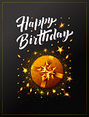 Happy Birthday vector illustration poster and cards with golden gift box or present, confetti, stars, streamers and Happy Birthday text written in calligraphy style. Template for party and celebration.