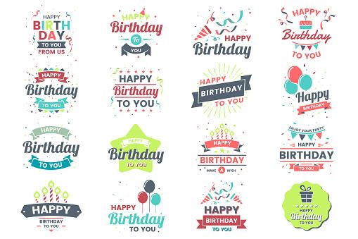 Happy Birthday Vector Logo for banner