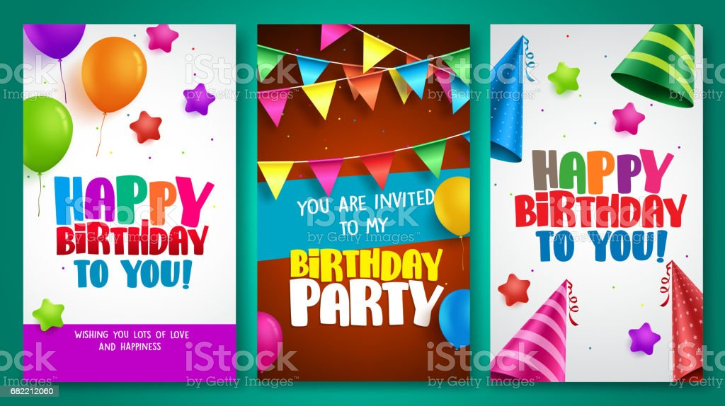 Happy birthday vector poster designs set with colorful ballons elements vector art illustration