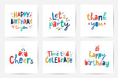 happy birthday, vector set of greeting cards with bright colorful lettering in scandinavian style