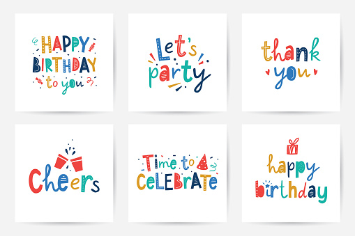 happy birthday vector set of cards with lettering