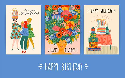 Happy Birthday. Vector set of cute illustrations. Design templates.
