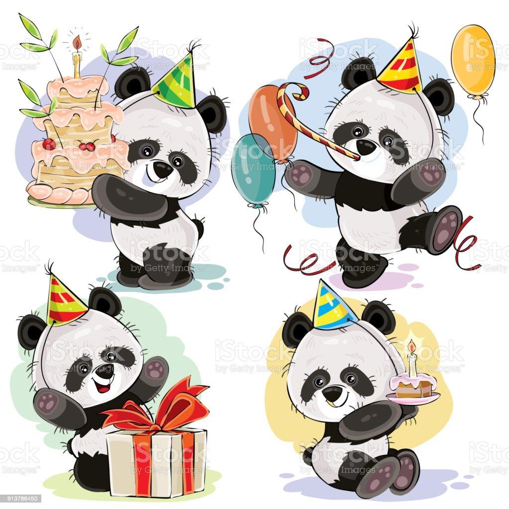 Vecteur De Joyeux Anniversaire Sertie De Bébé Panda Ours Vecteurs