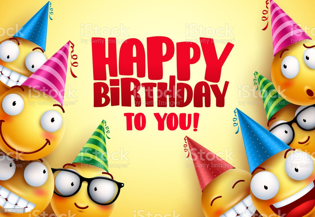 happy birthday vector smileys greetings design with funny and happy
