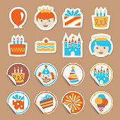 Vector stickers for a Birthday Party Day.