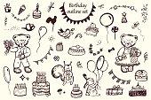 Happy Birthday vintage animal pattern backgroundHappy Birthday vintage animal pattern background