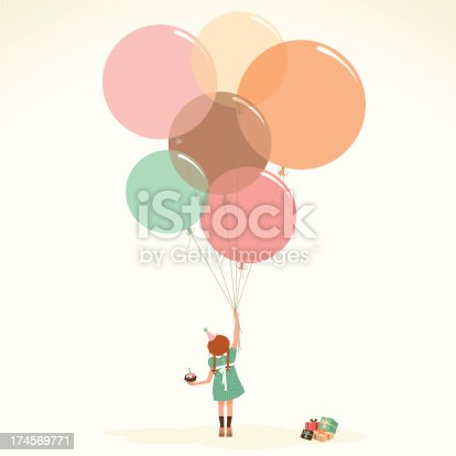 istock Happy birthday vintage cupcake present party illustration vector myillo 174569771