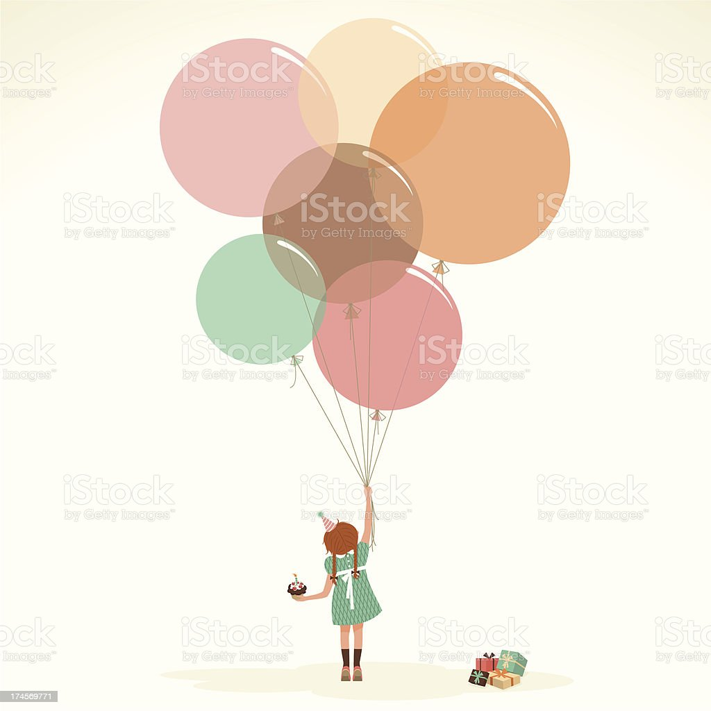 Happy birthday vintage cupcake present party illustration vector myillo vector art illustration