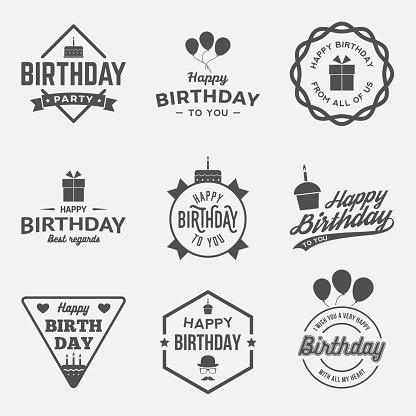 happy birthday vintage labels set. vector illustration