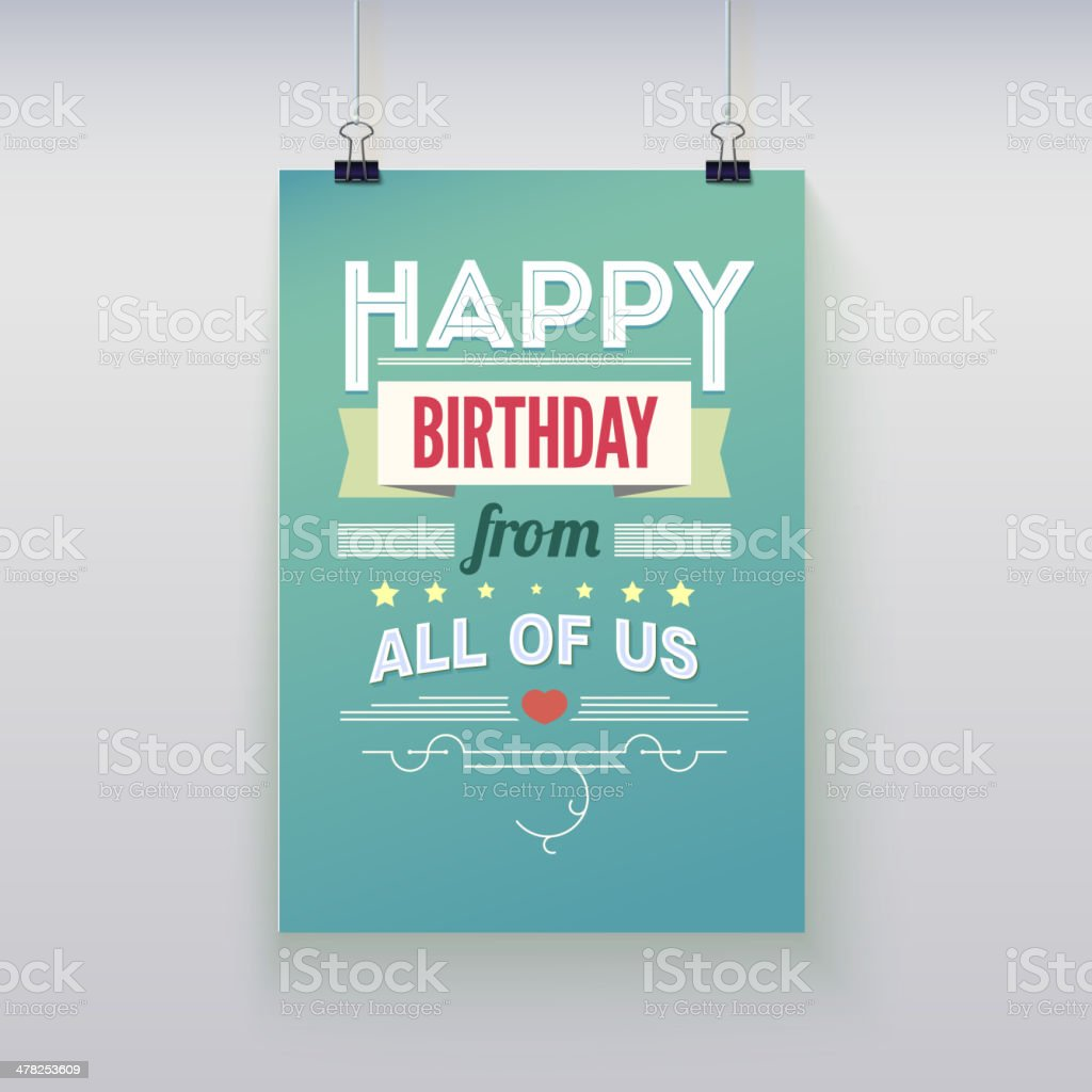 Happy Birthday, vintage poster, grunge vector art illustration