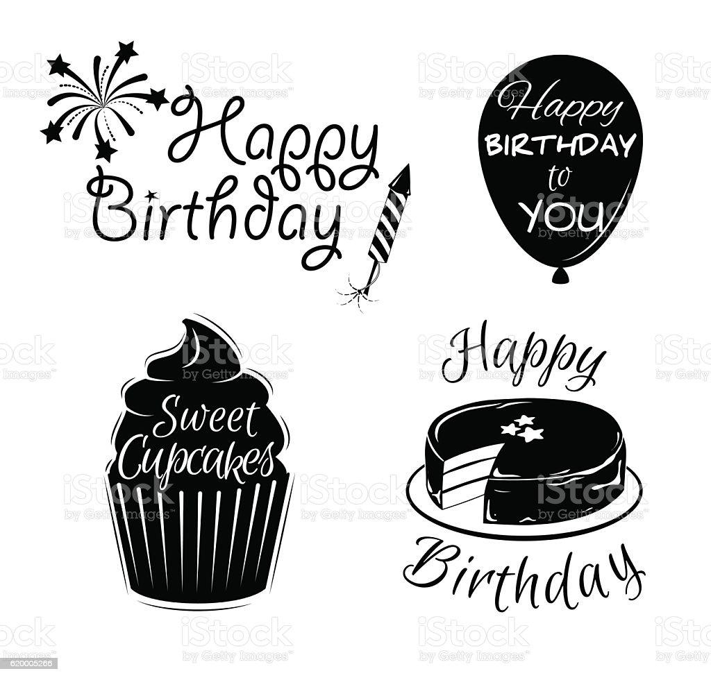 Happy birthday vintage set label cupcake balloon cake fireworks firework display painted image symbol text typescript buycottarizona