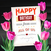 istock Happy Birthday vintage text poster composition on backdrop from dark wooden planks. Realistic vector colorful pink tulips set, not trace. Template with pink tulips for postcards or greeting cards 687062666