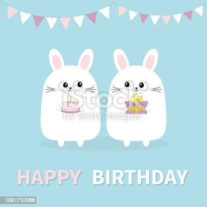 Happy Birthday Rabbit Card Flat Icon With Long Shadow Eps10 Clipart Images
