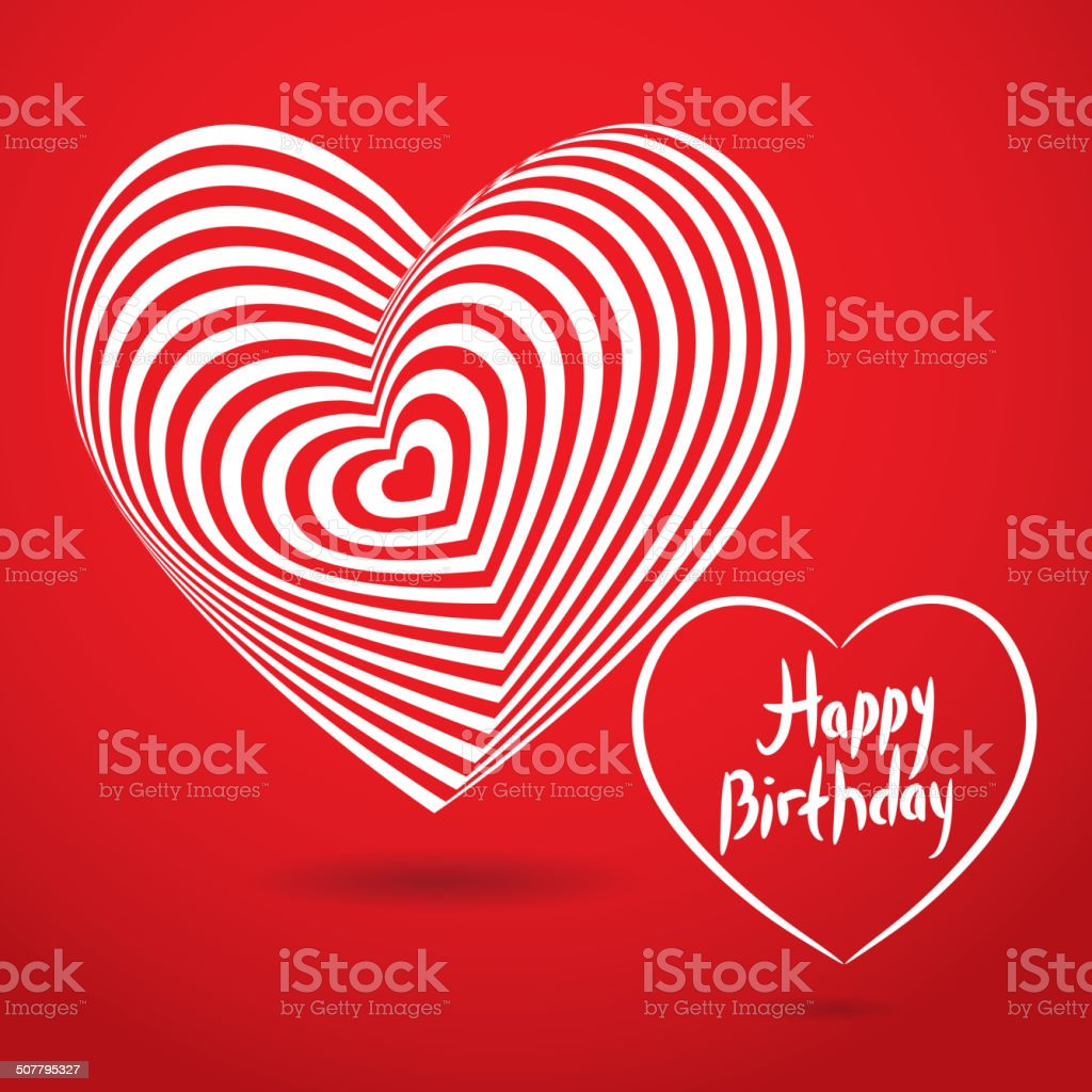 Happy Birthday White Heart Red Background Optical Illusion Card Template Stock Illustration Download Image Now Istock