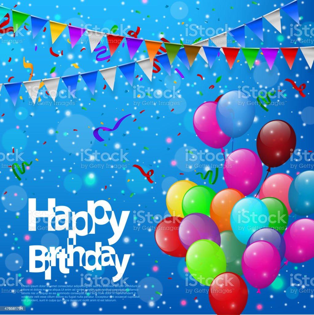 Feliz Cumpleaños Con Globos De Colores De Fondo Azul - Arte ...