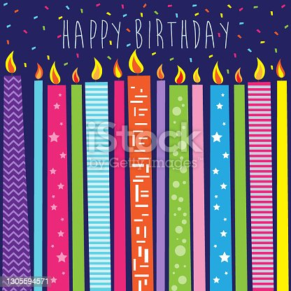 happy birthday with colorful candles