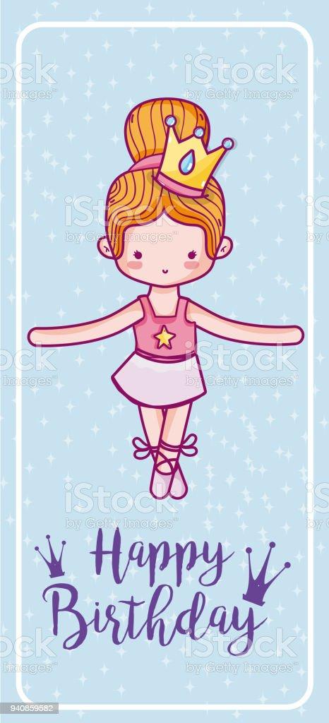 Ilustracion De Feliz Cumpleanos Tarjeta De Bailarina De Ballet Lindo